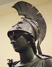 Goddess Athena Wearing Helmet With Spear and Aegis Shield ...  |Athenas Greek Helmet